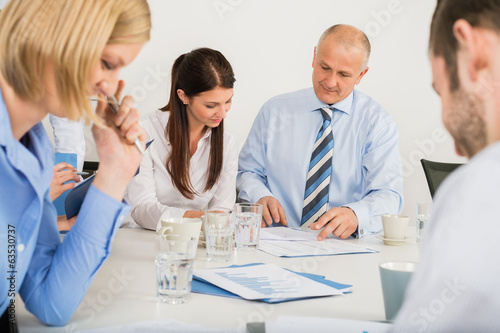 canvas print picture Business Team Discussing Document