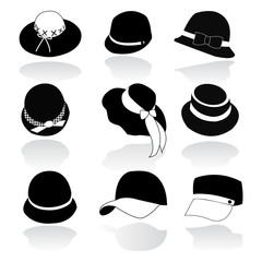 Icon Set vector of Hats Black Silhouette