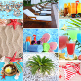 Fototapety Collage of photos summer holiday