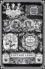 Vintage Hand Drawn Blackboard Banners and Labels