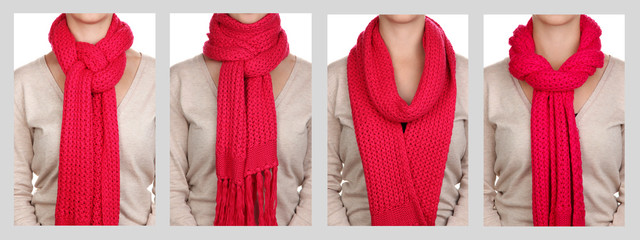 Collage of 4 ways to tie scarf