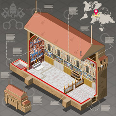 Isometric Infographic of Sistina Chapel of Vatican