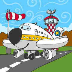 Funny Airplane on Airstrip and Control Tower