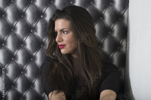 Beautiful woman with long dark hair portrait