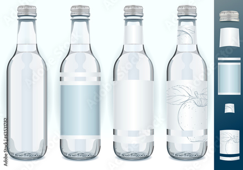 Four Glass Bottles with Generic Labels