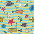 Seamless pattern of sea life on the seashore - 63531965