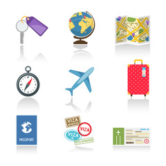 Set of colored travel icons