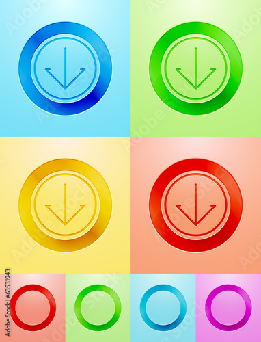 Vector flat circle button design