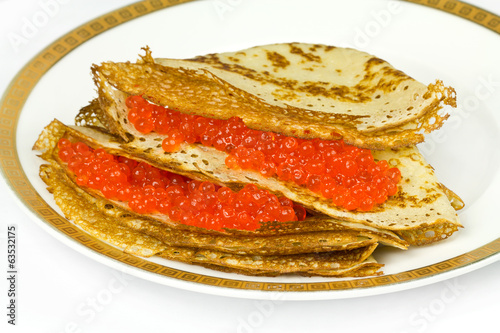 Dish with pancakes
