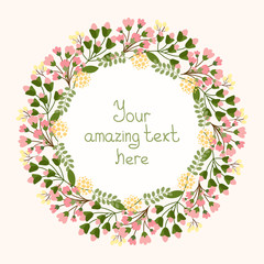 Greeting card design with a floral wreath