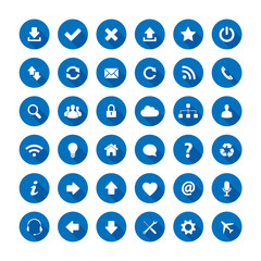Blue long shadow style icons