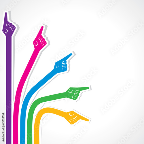 Creative colorful pointing hand stock vector