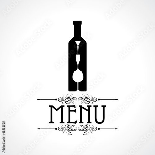 menu card with wine glass   bottle stock vector