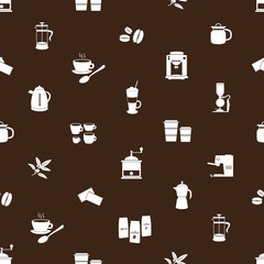 coffee icons brown and white pattern eps10