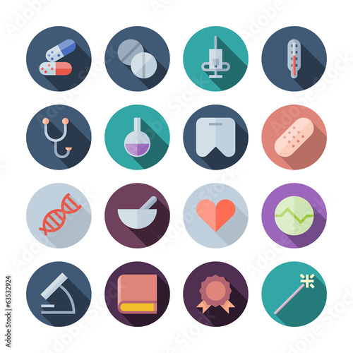Flat Design Icons For Medical