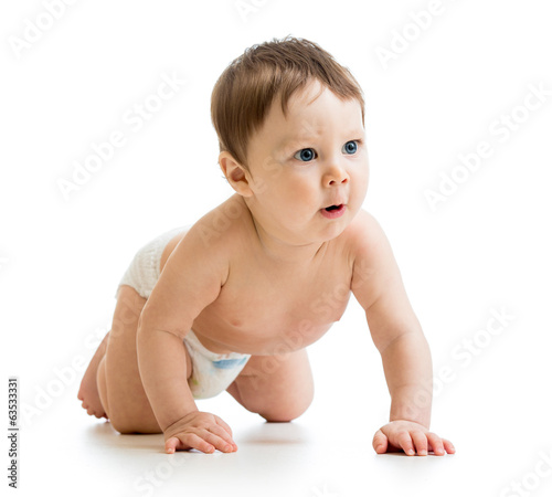 surprised crawling baby isolated on white