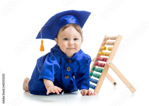 smiling baby weared academical clothes with counter