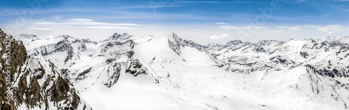 Panoramic view of Alps mountains with Grossglockner peak