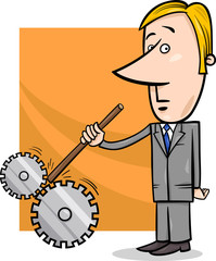 saboteur businessman cartoon illustration