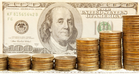 dollars banknotes and coins