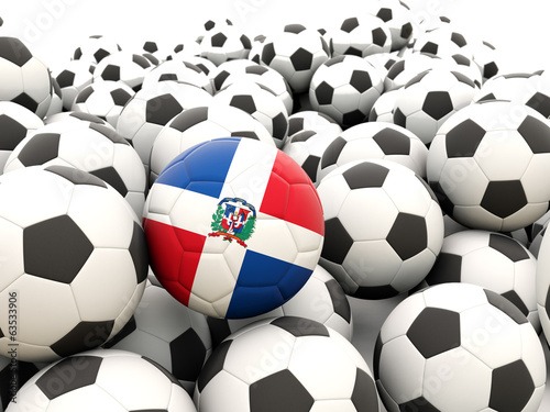 Football with flag of dominican republic