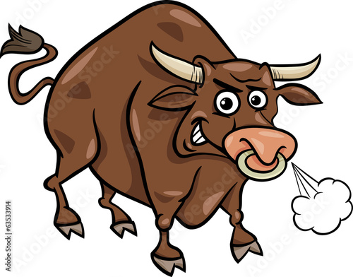 bull farm animal cartoon illustration
