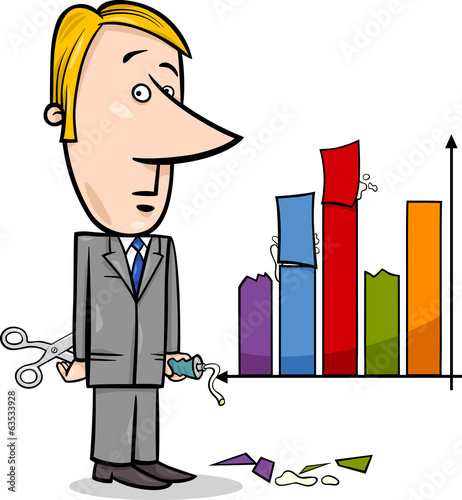 businessman and graph data cartoon