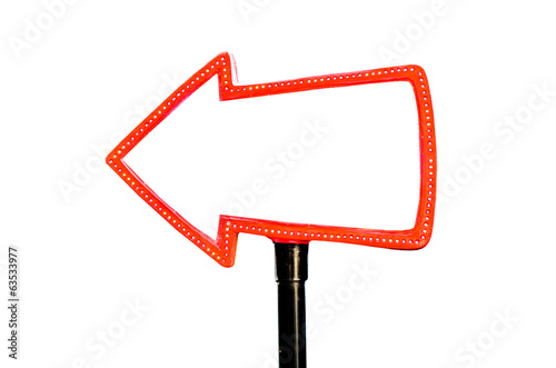 red arrow sign with copy space and light bulbs surround