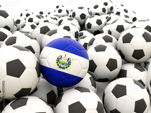 Football with flag of el salvador