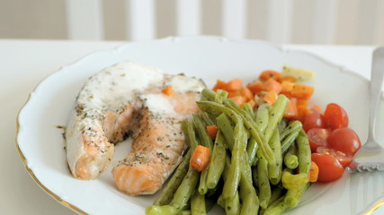 Salmon under cream sauce and vapor vegetables vintage plate