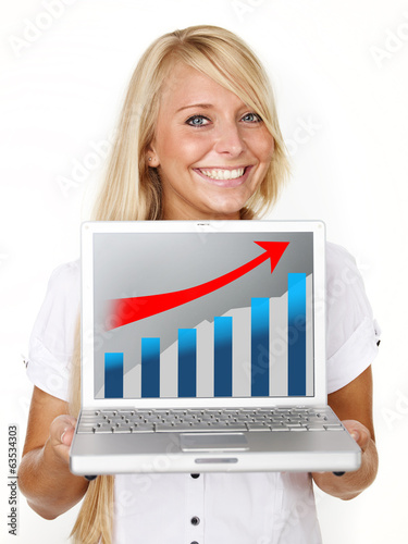 Woman winking succesful over her laptop
