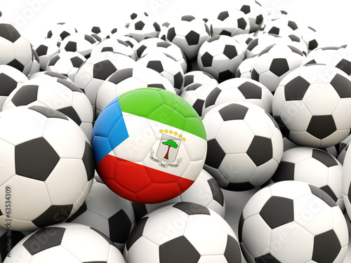 Football with flag of equatorial guinea