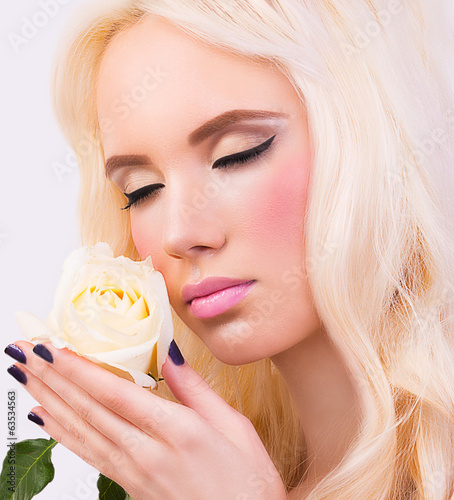 Blonde girl with perfect makeup