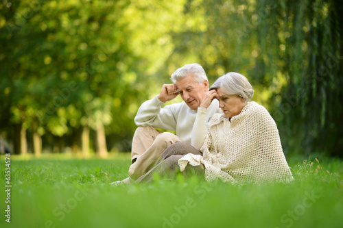 Elderly couple in park
