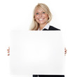 Woman with message board