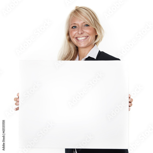 canvas print picture Woman with message board