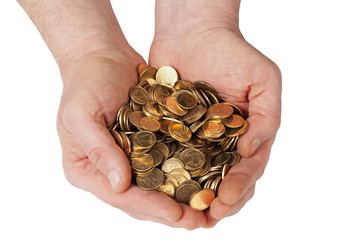 Hands with coins