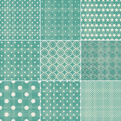 set of faded green retro polka dot seamless patterns