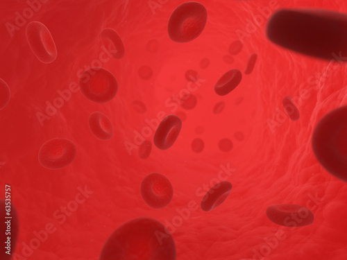 scientific illustration - blood cells in artery