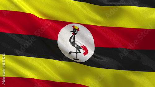 Flag of Uganda waving in the wind - seamless loop
