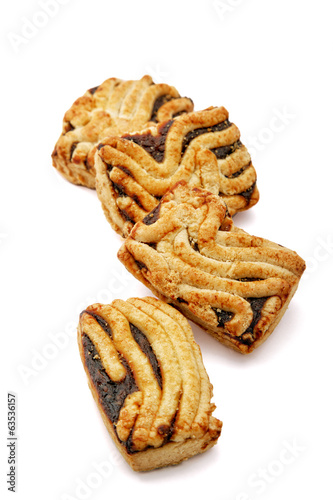 Cookies with jam isolated on a white background