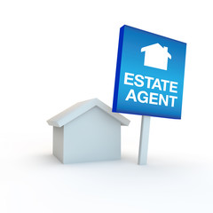 estate agent icon or symbol with a sign outside a  home