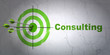 Business concept: target and Consulting on wall background