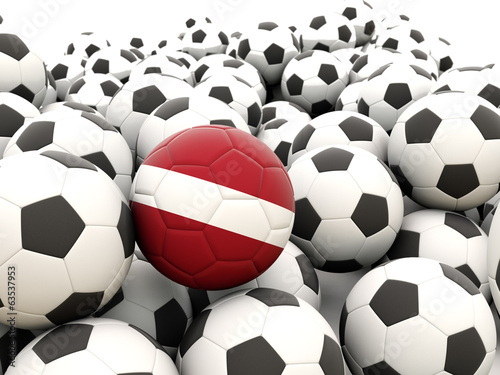 Football with flag of latvia