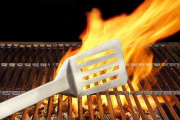 BBQ Grill, Spatula and Flames, XXXL