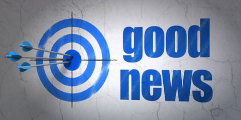 News concept: target and Good News on wall background
