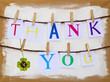Memoboard mit Wäscheleinen, Buchstaben, Thank you