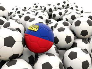Football with flag of liechtenstein