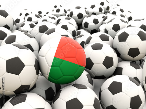 Football with flag of madagascar