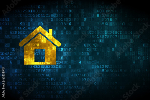 canvas print picture Finance concept: Home on digital background